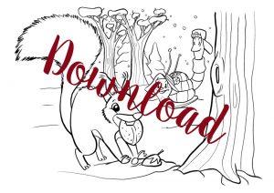 Eichhörnchen Heidi zum Ausmalen