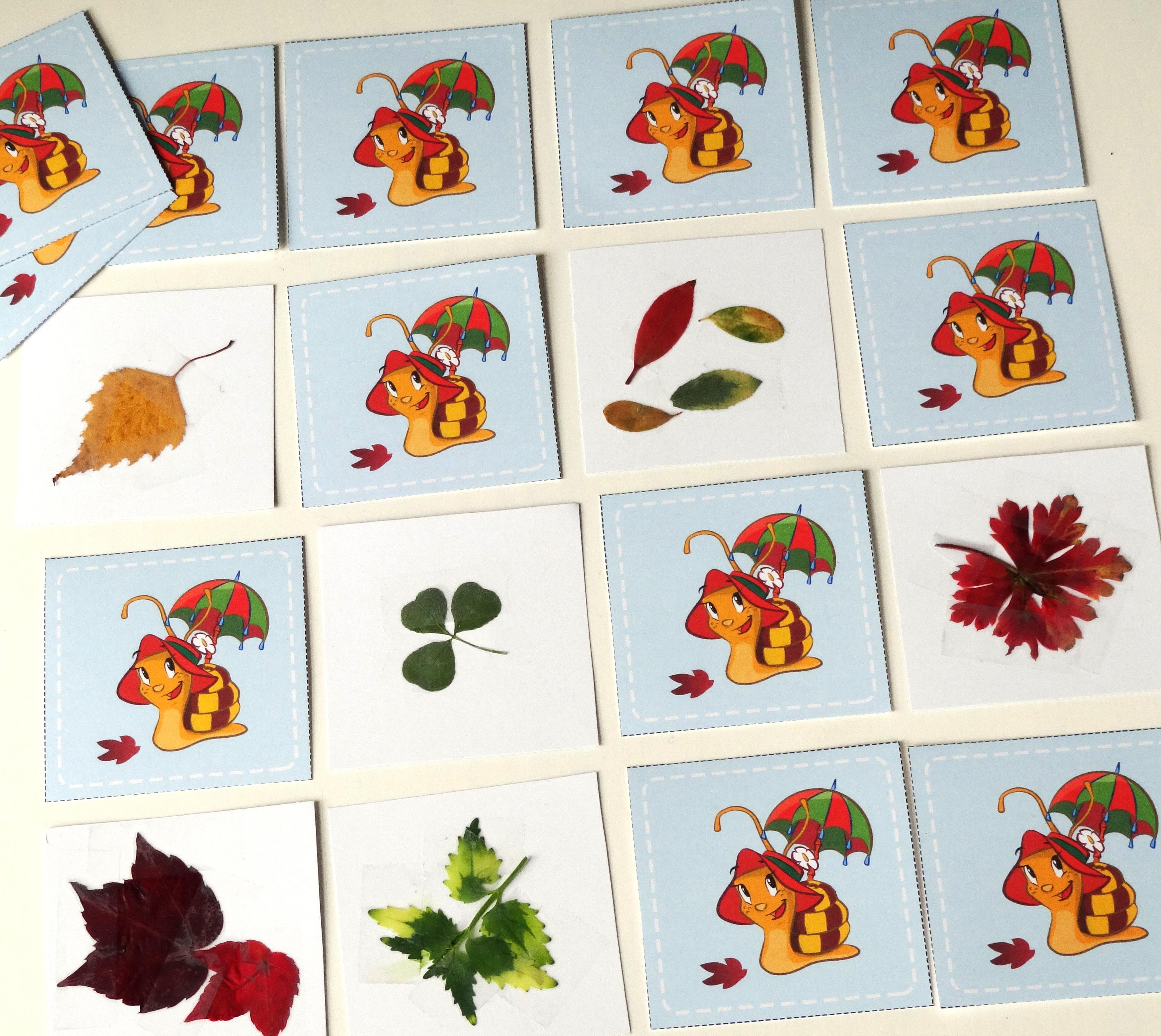 memory zum basteln mit herbstblättern